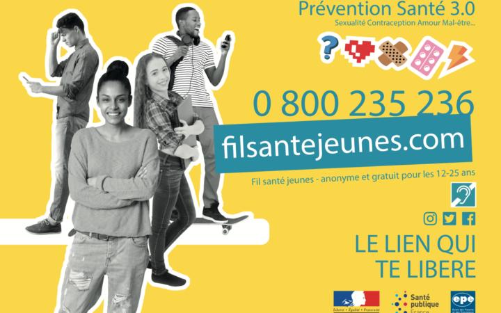 Affiche de Fil Santé Jeunes avec le pictogramme indiquant l'accessible aux sourds