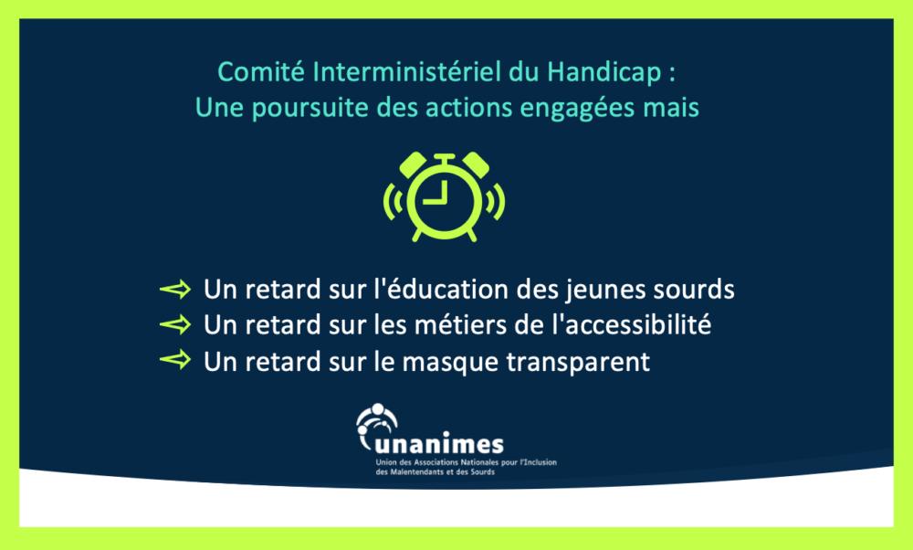 CIH : une poursuite des actions engagées mais un retard sur l'éducation des jeunes sourds, un retard sur les métiers de l'accessibilité, un retard sur le masque transparent