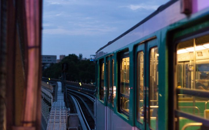 gray and green train
